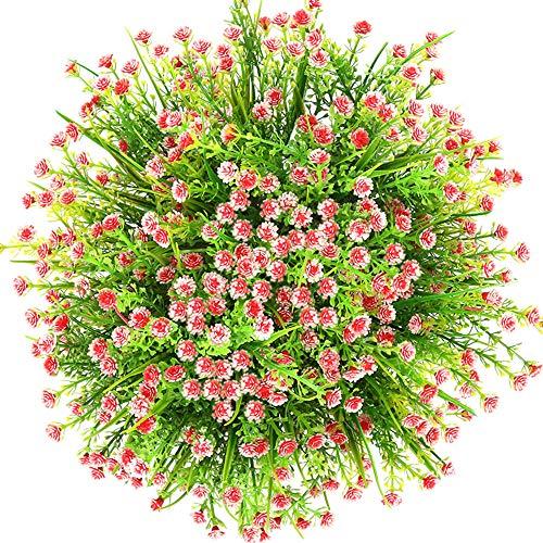 CQURE künstliche Blumen,Unechte Blumen Künstliche Deko Blumen Schleierkraut kunstblumen Braut Hochzeitsblumenstrauß für Haus Garten Party Blumenschmuck 5 Stück. (Rot)