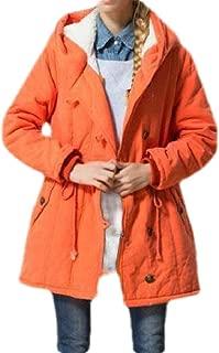 Macondoo Women Outwear Winter Anorak Hooded Wool Lined Warm Parkas Coat