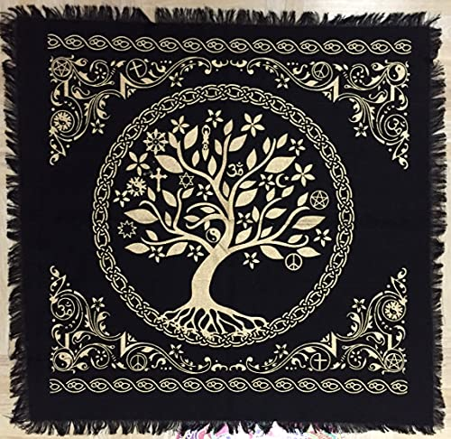 Celtic Tree of Life Big Tree Altar Tarot Cloth Tapestry Wicca Pagan Square 36' Black Gold Alter Cloth (Tree of Life, 3636 inches)