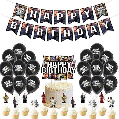 Kit de Decoraciones de Cumpleaños de GTA5 Globos de Látex de GTA5 Cupcake Toppers Pancarta de Fiesta de GTA5 Suministros de Fiesta Temáticos de Superhéroes