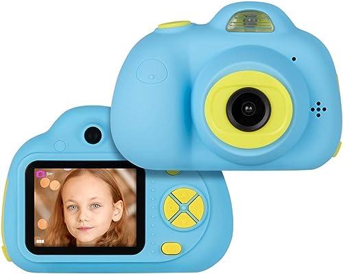 YUHT Enfants Caméra Enfants Caméra Appareil Photo Numérique pour Enfant avec 2.0 HD écran Couleur 1080P Rechargeable Mini Caméras Vidéo Numériques Cadeau Parfait pour Les Enfants, bleu