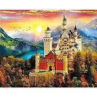 城の建築景観 -ナンバーキットによるDIY5Dダイヤモンドペインティング家の壁の装飾のためのフルドリルクリスタルラインストーンアートクラフトユニークなギフト子供40X50cm