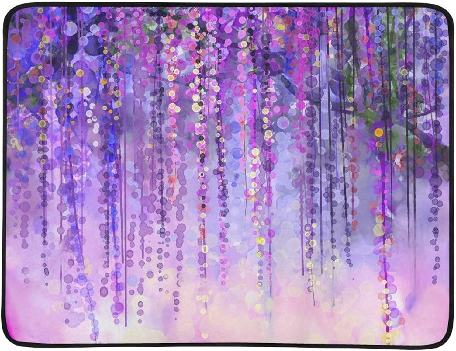 Abstract Floral Watercolor blueerred Painting Herbs purple color Flowers Pattern Portable and Foldable Blanket Mat 60x78 Inch Handy Mat for Camping Picnic Beach Indoor Outdoor Travel