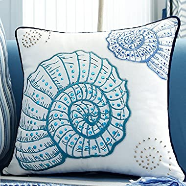 V&M VALERY MADELYN Valery Madelyn 18x18 Inch Ocean Park Theme Velvet Decorative Pillow Cover for Sofa Couch, Embroidery Blue Green Sea Snail