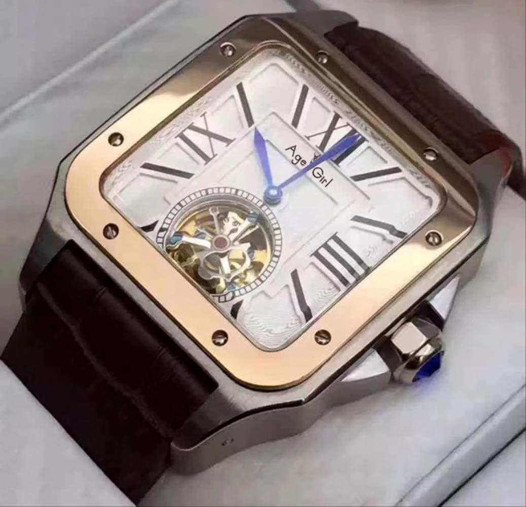 GFDSA heren automatisch mechanisch horloge goud room zwart blauw leer tourbillon saffierglas achterkant Limited Sport Square Silver White Gold