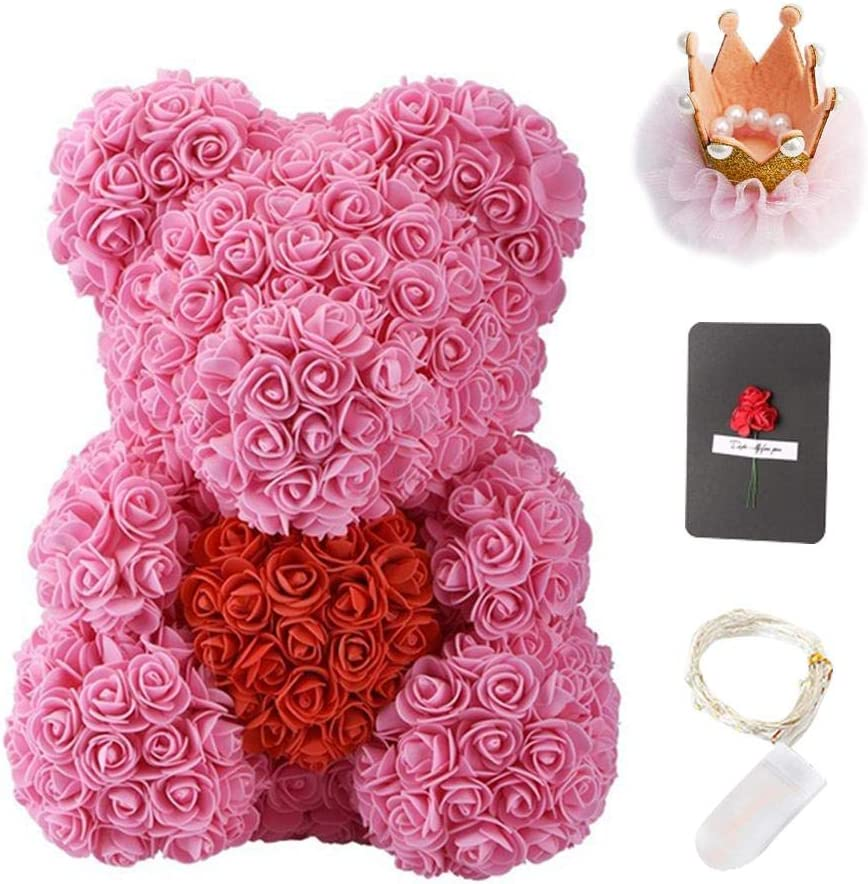 Bunter Rose Teddyb/är 40cm K/ünstlicher Rosen Teddyb/är mit Herz und Krone bestes kreatives Freundin-Geburtstagsgeschenk Valentinstagsgeschenk