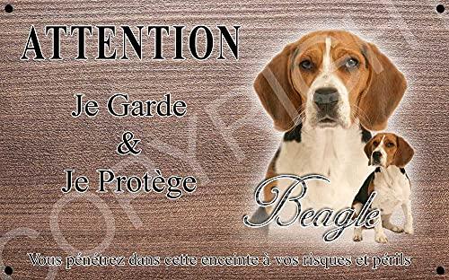 Pets-Easy.com Panneau Attention au Chien personnalisée Chien Beagle - pré perforée et vis livrées. De 30 cm à 15 cm…