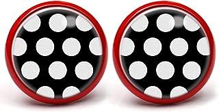 Schwarz-Rot Polka Dots Ohrstecker ABOUKI Damen M/ädchen Kind Kinder Edelstahl Ohrschmuck Motiv Punkte gepunktet Rockabilly handgefertigte Ohrringe silber-farben