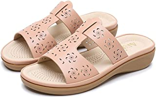 Summer Slippers Women Summer Non-slip Platform Shoes Lightweight Beach Pool Indoor Outdoor (Color : Apricot, Size : 37)