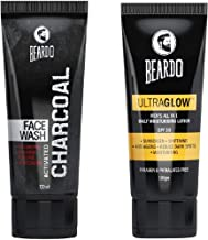 Beardo Activated Charcoal Face Wash, 100ml and BEARDO Ultraglow Face Lotion for Men, 100g Combo