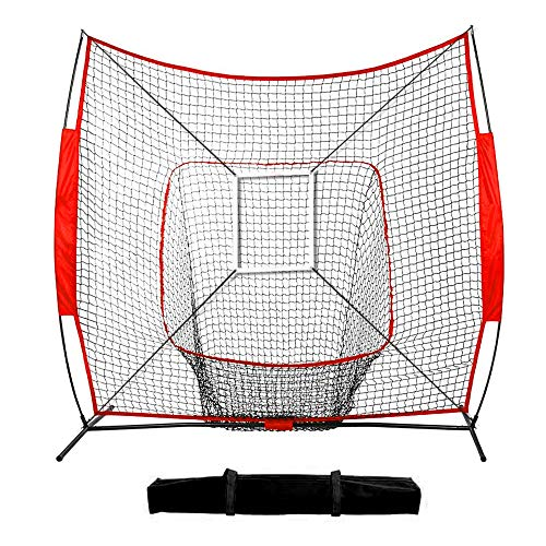 hzexun 7x 7 Feet Baseball Softball Practice Net Baseball Equipment Training Aids with Carry Bag for Hitting,Pitching,Batting & Fielding Practice