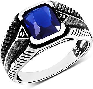 خواتم فضية للرجال 925 فضة مجوهرات للرجال مع حجر زركون أزرق مكعب
