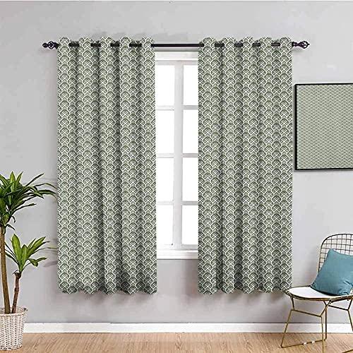 LucaSng Blickdicht Vorhang Wärmeisolierender - Grün Kreativität Gitter Linien - 160x160 cm Junge mit Mädchen Schlafzimmer Wohnzimmer Kinderzimmer - 3D Digitaldruck mit Ösen Thermo Vorhang
