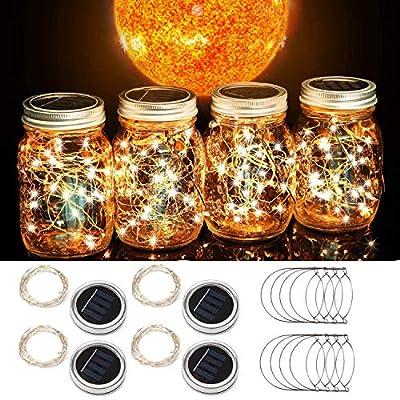 Beinhome Solar Mason Jar Lid String Lights 4 Pack 30 LED String Fairy Lights Including 4 Hangers (No Jars),for Mason Jar Garden Patio Wedding Lantern Decorations