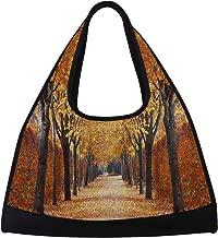 Gym Bag, Sports Duffle Bag Autumn Alley Fall Tree Leave Training Handbag Large Travel Shoulder Tote Bag Tennis Badminton Racket Bag for Men Women
