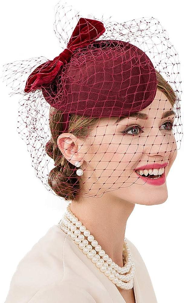 F FADVES Lady Wedding Fascinators Hats Elegant Formal Church Wool Felt Pillbox Derby Cocktail Veils Hat