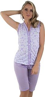 ff356e661d Pijama Em Malha Pós Parto Lilás Com Botão- Maternidade Gestante