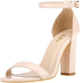 ZriEy Women's Heeled Sandals Strappy Chunky Block High Heels Ankle Strap Open Toe Sandals Party Wedding Fashion Shoes