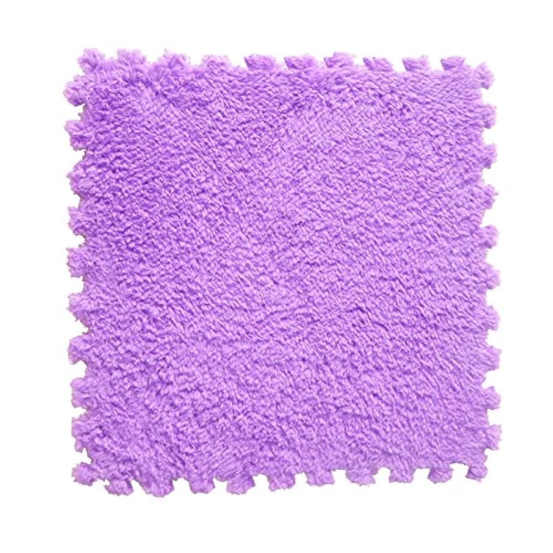 泡ステッチングプラスベルベットEVAクッション厚いラージフォームマットスエードステッチングブランケット子供用クッション手洗い式ベッドルームラグフィットネスジムマット(60X60X1CM)(3個, 紫)