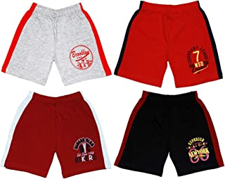 Sand Beach Kids Boys Cotton Solid Shorts Grey::Red::Maroon::Black Pack of 4