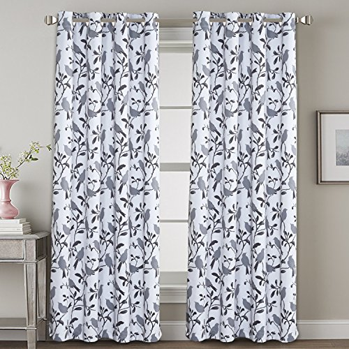 H.VERSAILTEX Blackout Curtains for Bedroom 84 Inches Length Thermal Insulated Grey Birds on White Curtain Drapes for Living Room Energy Efficient Room Darkening Home Decoration Curtains Pair