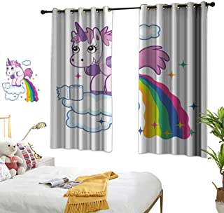 """RuppertTextile Funny Customized Curtains Unicorn Pooping Rainbow Over Clouds Creative Kids Girls Fairy Tale Fantasy Cartoon 55"""" Wx39 L, Suitable for Bedroom Living Room Study, etc."""