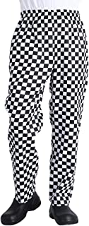 Men's Black and White Checkerboard Print Chef Pants with Elastic Waist Drawstring Baggy Chef Uniforms