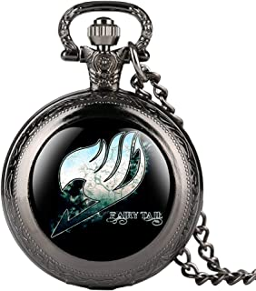 Fine Chain Black Pocket Watch for Men, Fairy Tail Pattern Quartz Pocket Watches for Students, Arabic Digital Pocket Watch for Teenager- Ahmedy