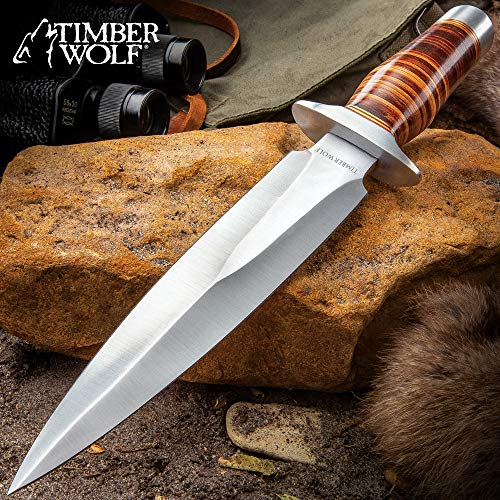 Timber Wolf Leather Fighter Dagger with Sheath - Stainless Steel Blade, Banded Leather Handle, Stainless Steel Guard - Length 13'