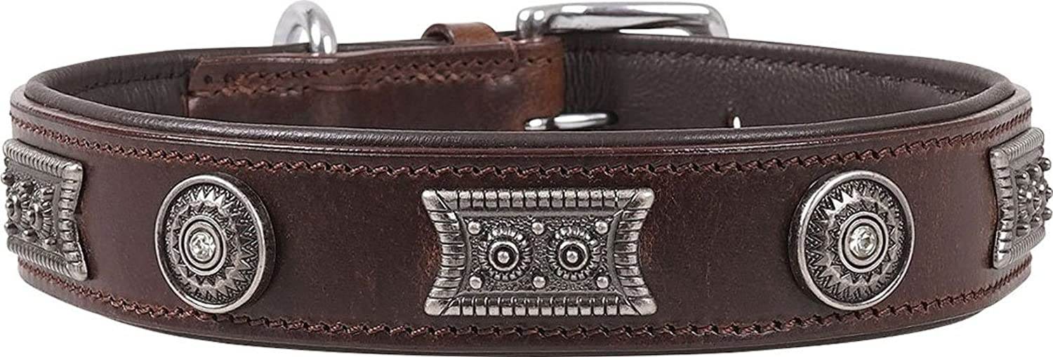 Knuffelwuff Hamilton Real Leather Dog Collar, Large, 3645 cm, Brown