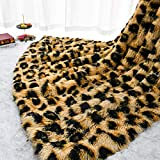 Homore Fluffy Leopard Blanket, Plush Cheetah Print Throw Blankets Soft Faux Fur Bed Throw for Decorative Couch Chair Sofa, Washable and Lightweight, 50' x 60' Khaki