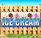 Ice Cream 13 oz Banner   Non-Fabric   Heavy-Duty Vinyl Single-Sided with Metal Grommets