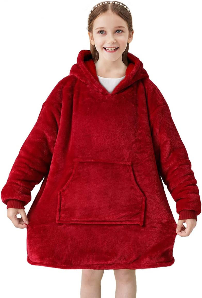 Ultra-Soft Texture Wearable Blanket for Kids Super Warm Snuggly Sherpa Flannel with Large Front Pocket HIFUAR Oversized Hoodie Blanket Sweatshirt