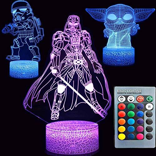 Amacigana Luz nocturna 3D ilusión Star War, tres patrones de 7 colores cambiantes, lámpara decorativa para escritorio, lámpara de noche para niños (A02)
