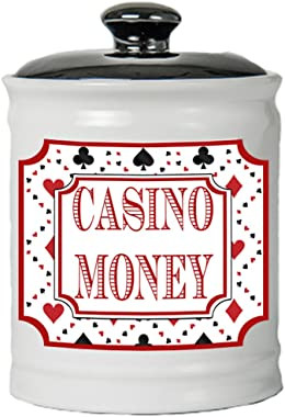 Cottage Creek Piggy Bank, Casino Money Coin Bank, Round Ceramic Slots Jar with Black Lid, Gambling and Vegas Money Bank [Whit