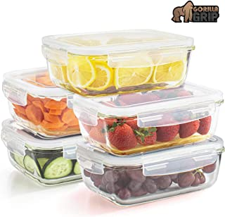 Gorilla Grip Original Premium Leakproof Glass Food Storage Canisters, 5 Pack of 28.5oz Size with Airtight Lids, Holds 3.5 Cups, Dishwasher Safe, Saver Container for Fridge, Meal Prep, Commercial Grade