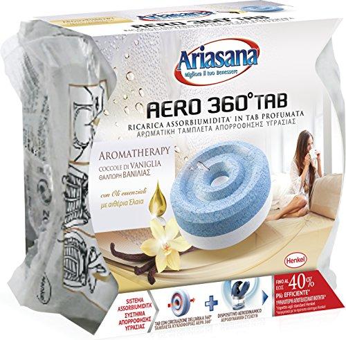 Ariasana Dispositivo Aero 360° Kit, Assorbi Umidità in Tab al Profumo di Vaniglia, Elimina Umidità e Cattivi Odori, 1 TAB da 450 g