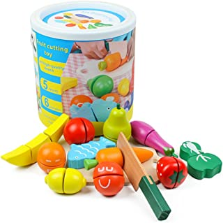 SKEIDO Wooden Kitchen Cutting Fruits Vegetables Colorful Baby Puzzle Toys Early Educational Magic Stickers
