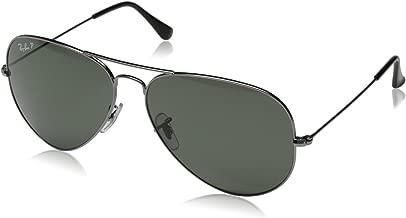 RAY-BAN RB3025 Aviator Large Metal Polarized Sunglasses, Gunmetal/Polarized Green, 62 mm