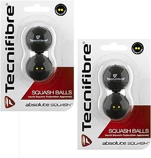 Tecnifibre Double Yellow Dot Squash Balls - 4 Pack