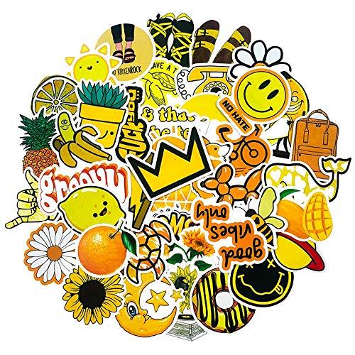 50Pcs Cute Expression Yellow Small Fresh Sticker For Suitcase Scrapbook Notebook Notebook Diary DIY Graffiti Waterproof Sticker