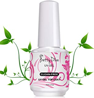 PrettyDiva No Wipe Top Coat - 0.5 Ounce UV Led Cured Required High Gloss Soak Off