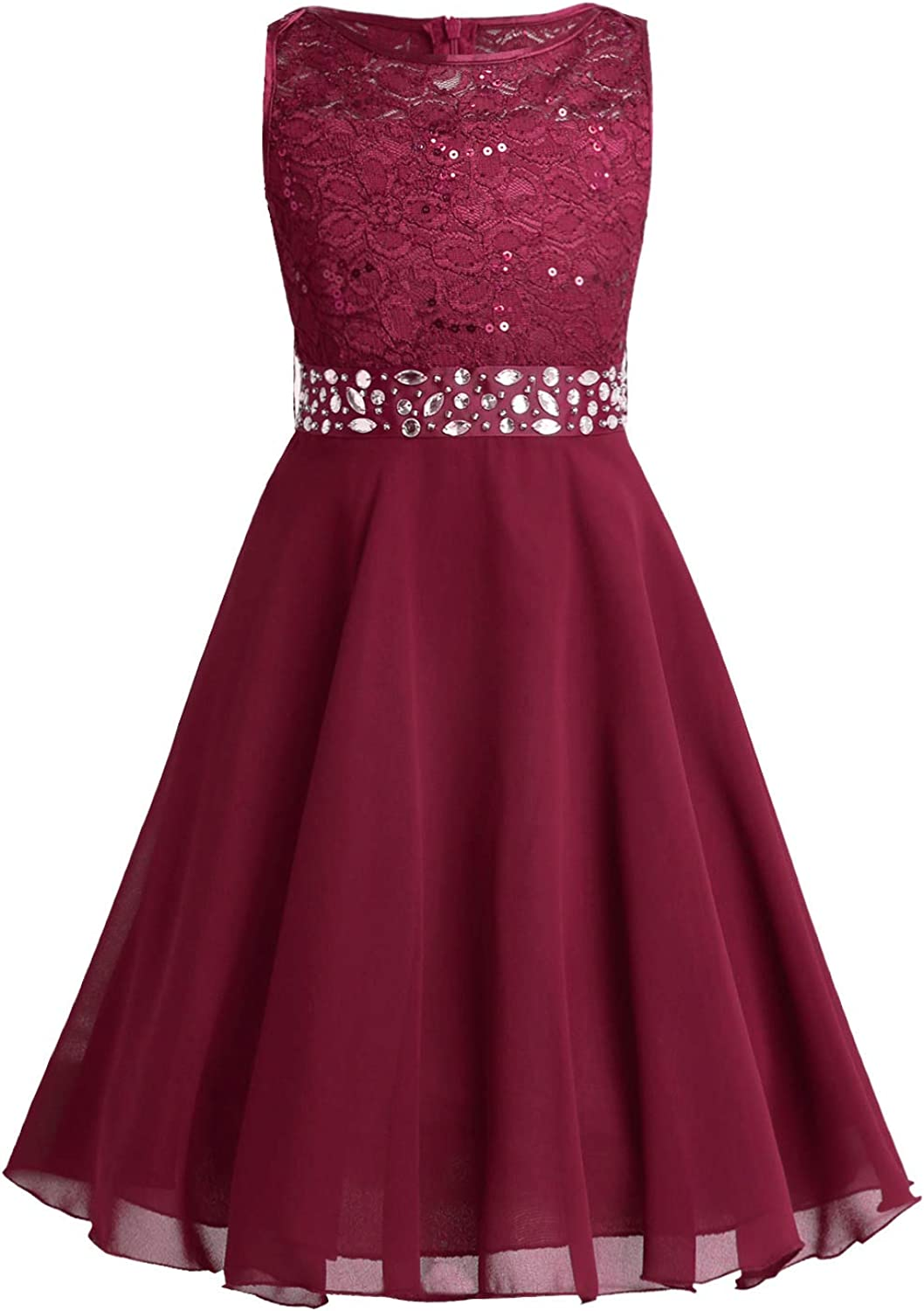 iEFiEL Girls Sequined Lace Flower Girl Dress Princess Pageant Wedding Bridesmaid Prom Party Chiffon Dress