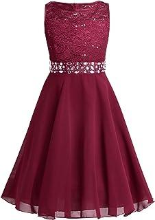 IEFIEL Flores Vestidos de Encaje para Niña Vestido de Princesa Traje de Ceremonia Boda Dama de Honor Fiesta 2-12 Años