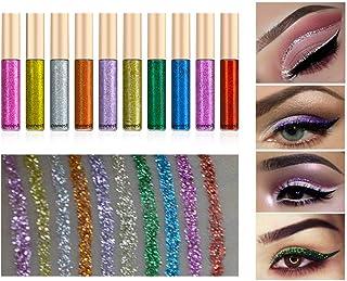 Ownest 10 Colors Liquid Glitter Eyeliner, Metallic Shimmer Glitter Eyeshadow, Long Lasting Waterproof Shimmer Sparkling Ey...