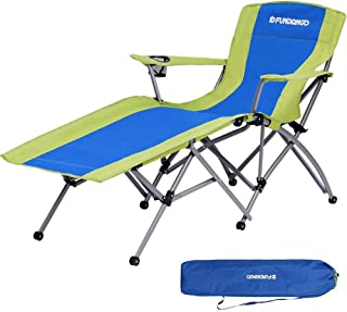 Fundango Folding Camping Chair Heavy Duty Patio Lounge Chaise Lawn Chair with Cup Holder Armrest and Storage Bag for Garden, Outdoors, One Reclining Position