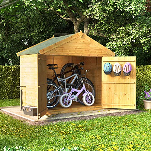 BillyOh Tongue and Groove Apex Bike Store, Mini Master Bike Shed with Floor and Roof (4X6)