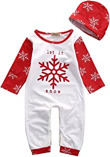 BabiBeauty Baby Girls Boys Let it Snow Snowflake Long Sleeve Pajama with Hat