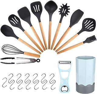 mreechan Utensilios Cocina de Silicona, Kit de Cocina Resistente al Calor, Mango de Madera para Utensilios,Antiadherente/fácil de Limpiar aplicable a ollas y sartenes (14 Piezas)