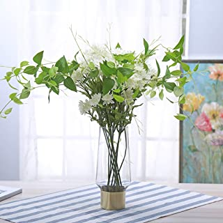 Cyl Home Vases Cylinder Clear Glass Flower Arrangement Vases Brass Gold Band Decor Dining Table Centerpieces Gifts for Wedding Housewarming Party, 9.8'' H x 3.4'' D
